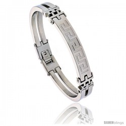 Stainless Steel Greek Key Bracelet 3/8 in wide, 8 in long