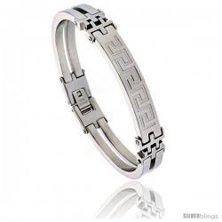 Stainless Steel Greek Key Bracelet 3/8 in wide, 8 in long