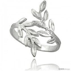Sterling Silver Olive Branch Ring Polished finish finish 7/8 in wide