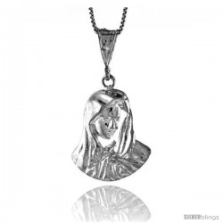 Sterling Silver Mother Mary Pendant, 1 1/16 in