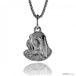 Sterling Silver Mother Mary Pendant, 1/2 in
