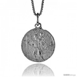 Sterling Silver Saint Christopher Medal, 3/4 in