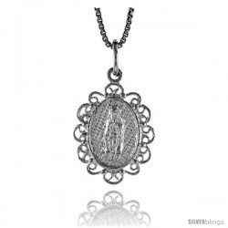 Sterling Silver Mary Immaculate Medal, 3/4 in