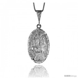 Sterling Silver Saint Christopher Medal, 1 1/4 in