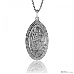 Sterling Silver Saint Christopher Medal, 1 1/4 in -Style 4p191