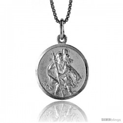 Sterling Silver Saint Christopher Medal, 3/4 in -Style 4p192