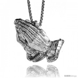 Sterling Silver Praying Hand Pendant, 1 in