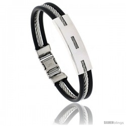 Stainless Steel Cable & Rubber Bracelet in wide, 8 in long