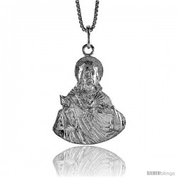 Sterling Silver Sacred Heart of Jesus Pendant, 1 1/16 in