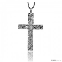 Sterling Silver Nugget Cross Pendant, 1 3/4 in
