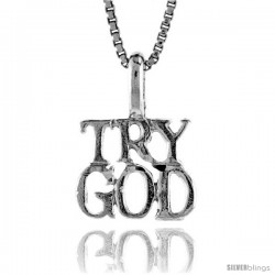 Sterling Silver TRY GOD Pendant, 3/8 in