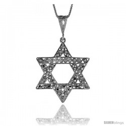 Sterling Silver Star of David Pendant, 1 1/2 in