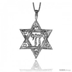 Sterling Silver Star of David with Chai Pendant, 1 1/4 in