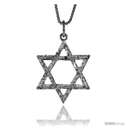 Sterling Silver Star of David Pendant, 1 in