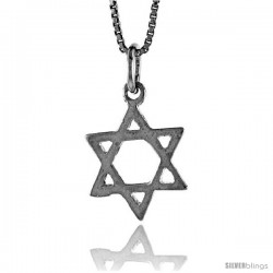 Sterling Silver Star of David Pendant, 3/4 in