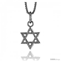 Sterling Silver Star of David Pendant, 1/2 in