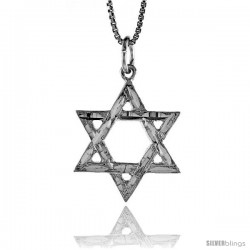 Sterling Silver Star of David Pendant, 7/8 in