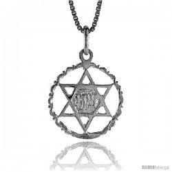 Sterling Silver Star of David Pendant, 3/4 in -Style 4p208