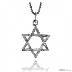 Sterling Silver Star of David Pendant, 3/4 in -Style 4p209