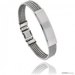 Stainless Steel Cable ID Bracelet 1/2 in wide, 8 in long