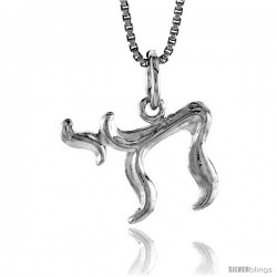 Sterling Silver Chai Pendant, 1/2 in -Style 4p222