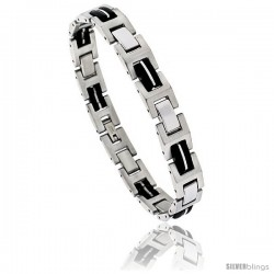 Stainless Steel H- Link Bracelet Rubber accent, 8 in long