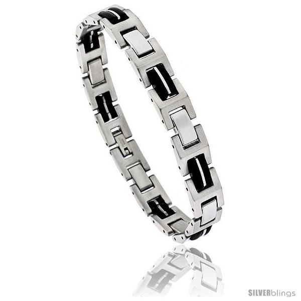 https://www.silverblings.com/1696-thickbox_default/stainless-steel-h-link-bracelet-rubber-accent-8-in-long.jpg