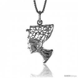 Sterling Silver Queen Nefertiti of Egypt Pendant, 3/4 in