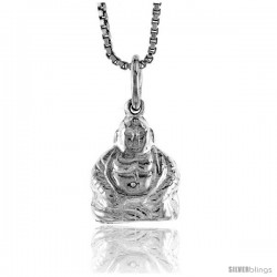 Sterling Silver Buddha Pendant, 1/2 in