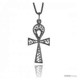 Sterling Silver Filigree Egyptian Ankh Pendant, 1 1/16 in