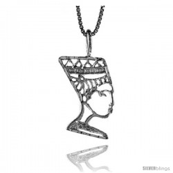 Sterling Silver Queen Nefertiti of Egypt Pendant, 7/8 in -Style 4p233