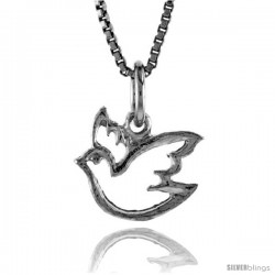 Sterling Silver Cut-out Ascending Dove Pendant, 3/8 in