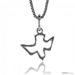 Sterling Silver Cut-out Descending Dove ( Holy Spirit ) Pendant, 1/2 in