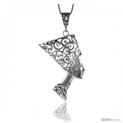 Sterling Silver Large Queen Nefertiti of Egypt Pendant, 2 5/16 in