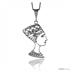 Sterling Silver Queen Nefertiti of Egypt Pendant, 1 1/2 in
