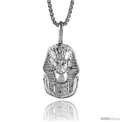 Sterling Silver Pharaoh's Burial Mask Pendant, 1/2 in