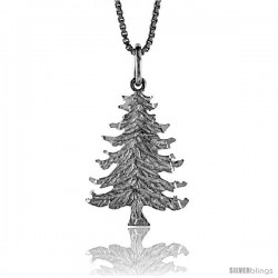 Sterling Silver Christmas Tree Pendant, 7/8 in