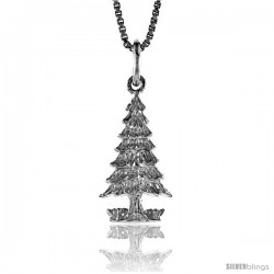 Sterling Silver Christmas Tree Pendant, 3/4 in