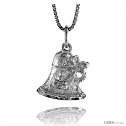 Sterling Silver Christmas Bell Pendant, 5/8 in