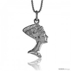 Sterling Silver Queen Nefertiti of Egypt Pendant, 3/4 in -Style 4p246
