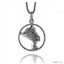Sterling Silver Cleopatra Pendant, 5/8 in