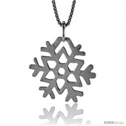Sterling Silver Snowflake Pendant, 3/4 in