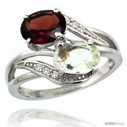 14k White Gold ( 8x6 mm ) Double Stone Engagement Green Amethyst & Garnet Ring w/ 0.07 Carat Brilliant Cut Diamonds & 2.34