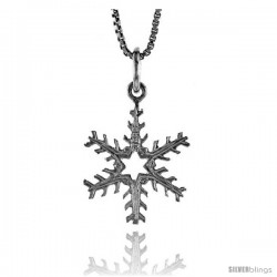 Sterling Silver Snowflake Pendant, 3/4 in -Style 4p251