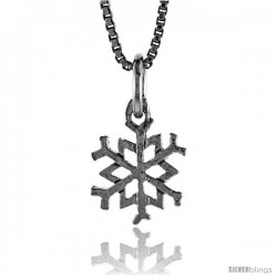 Sterling Silver Snowflake Pendant, 1/2 in