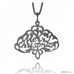 Sterling Silver Merry Christmas Pendant, 3/4 in