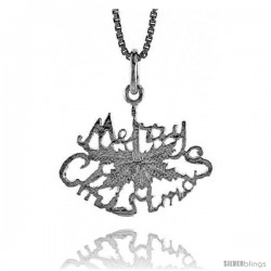 Sterling Silver Merry Christmas Pendant, 5/8 in