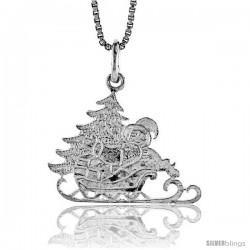 Sterling Silver Santa's Sleigh Pendant, 5/8 in