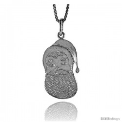 Sterling Silver Santa Claus Pendant, 7/8 in