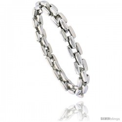 Stainless Steel Bar Link Bracelet 3/8 in wide, 8 1/2 in long